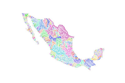 River basin map of Mexico