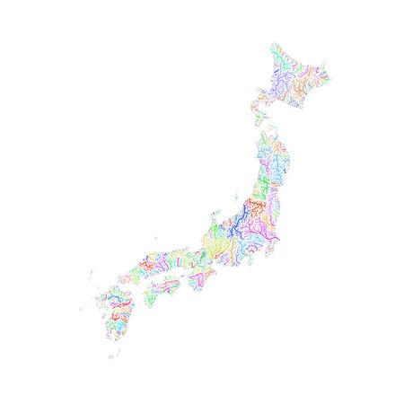 River basin map of Japan
