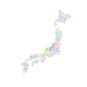 River basin map of Japan