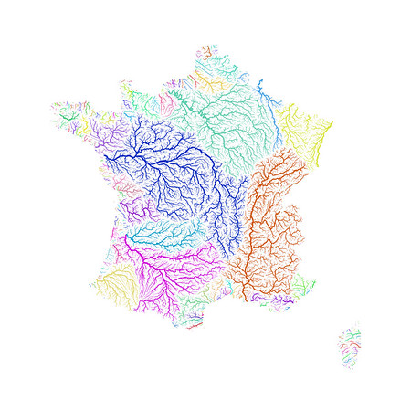 River basin map of France