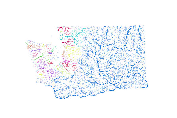 River basin map of Washington