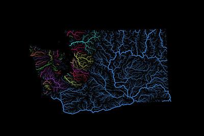 River basin map of Washington