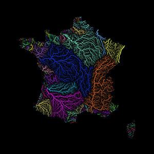 River basin map of France