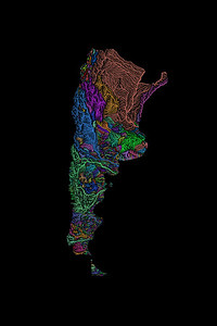 River basin map of Argentina