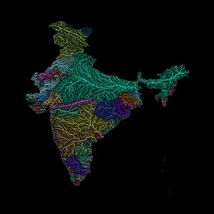 River basin map of India