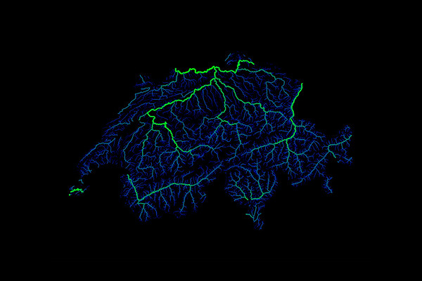 Blue and green river map of Switzerland
