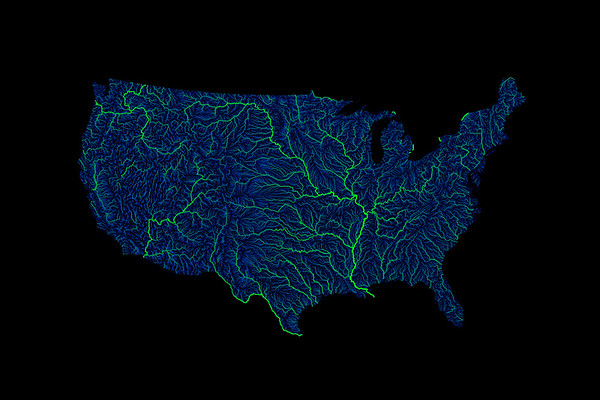 Blue and green river map of the contiguous United States