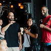 Gino Gurley, Joanna Heng and Gregory Bernadotte enjoy a cold beverage during the River Styx Brewing grand opening and ribbon cutting in Fitchburg on Thursday, July 27, 2017. SENTINEL & ENTERPRISE / Ashley Green