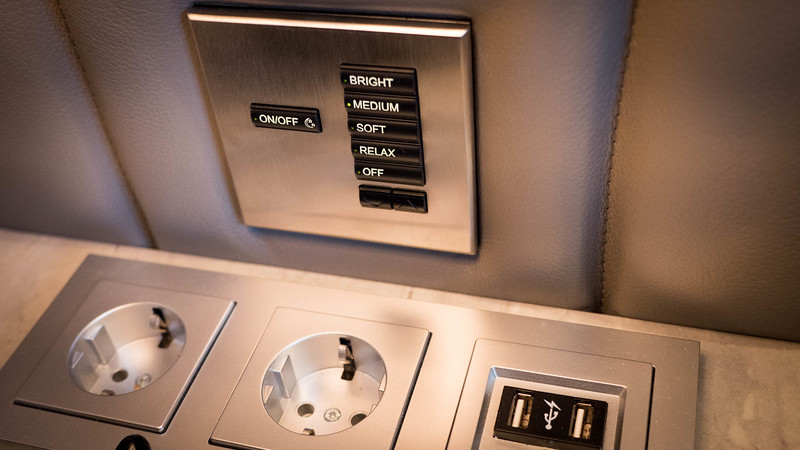 Crystal Mozart staterooms features European-style outlets, along with USB outlets and lighting that can be set to four different moods. © 2016 Ralph Grizzle