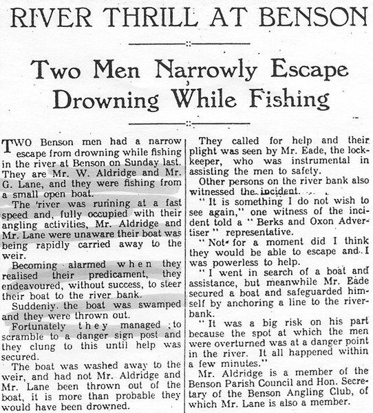 <font size=3><u> - Lock-keeper saves two from drowning - </u></font> (BS0518)  (see Benson A Century of Change – page 32) Berks & Oxon Advertiser 1st Jan 1936
