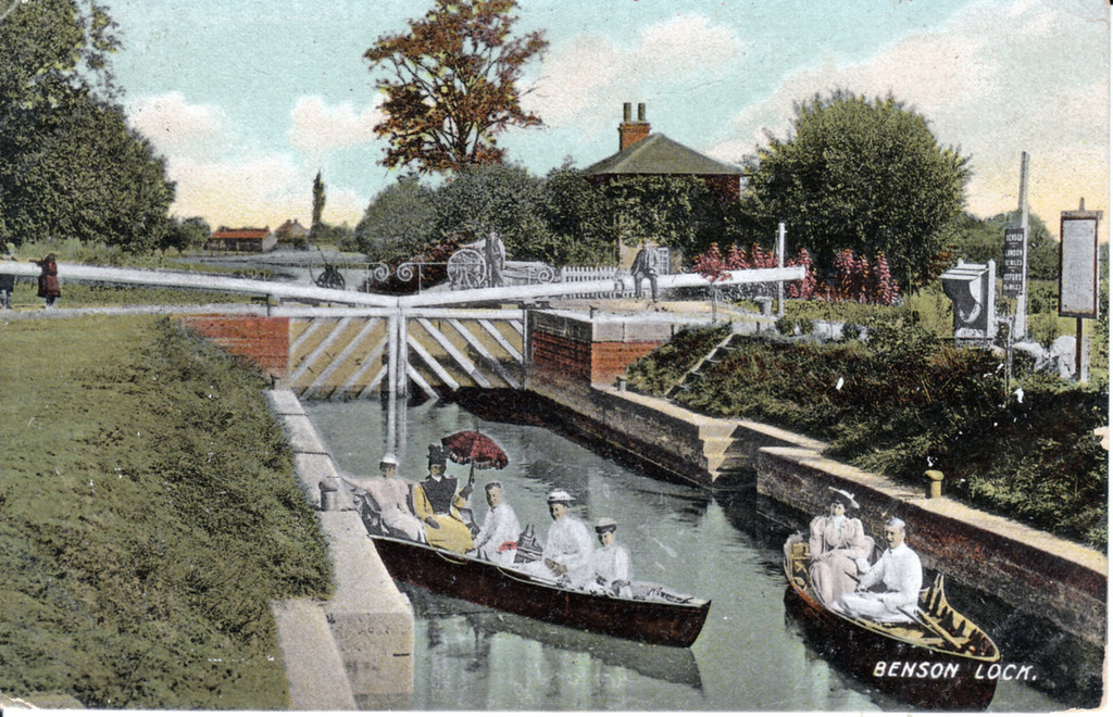 <font size=3><u> - Boating in the Lock - </u></font> (BS0111)  Edwardian boating. Very old photo.  Pre 1914.   In the distance you can see the coalyard.  Some of the infrastructure may be newer. Is the photo genuine?