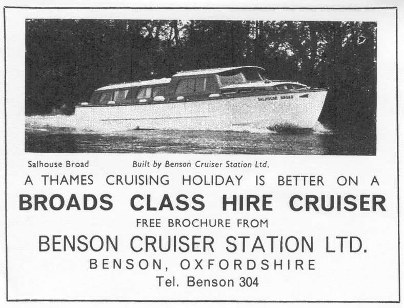 <font size=3><u> - Hire Cruiser advertisement - </u></font> (BS0979)  Many families from the UK and overseas took their annual holiday on a Benson boat.