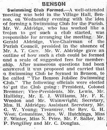 <font size=3><u> - Benson Swimming Club founded - </u></font> (BS0516)  Thought to be about 1938/39 Many well known Benson names.