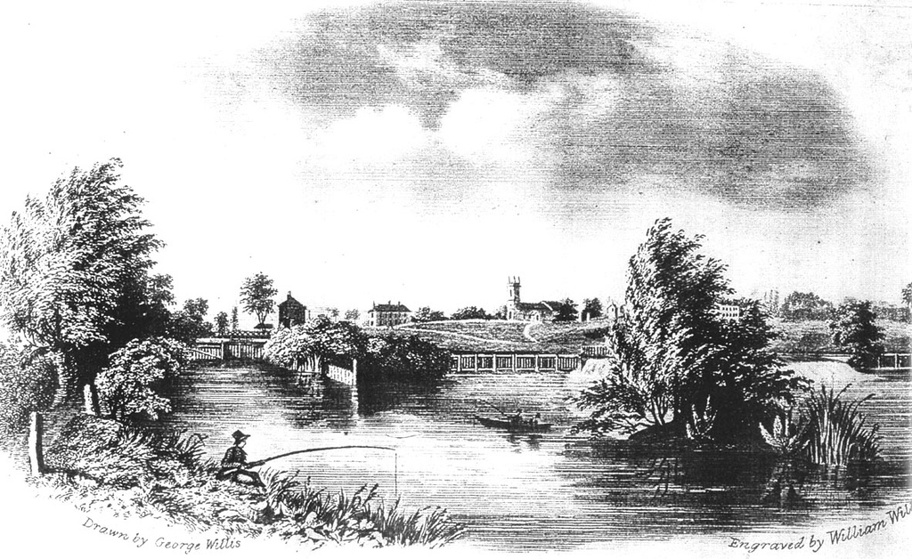 <font size=3><u> - View of St Helen's Church and the River - </u></font> (BS0464)   A print from an engraving by William Willis c1830.