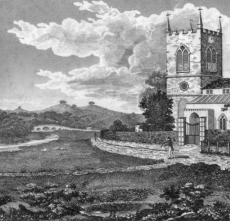 <font size=3><u> - St Helen's Church and Thames - </u></font>(BS1123)  A detail from an 1830 view of the Thames and St. Helen's Church by William Willis.  Note the wide marshy banks gently sloping to the water's edge.