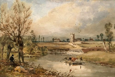 "<font size=3><u> - Painting of river and village c1850-1860</u> </font>(BS1359)  Sadly, we don't know who the artist was, and one can of course never know quite where ""artist's licence"" plays a part. Nevertheless there is a lot in it of interest. First, the large house to the left of St Helen's tower is in Churchfield Lane and was known in the 1880s as Churchgreen Villa.  Although now hidden behind tall conifers and houses, we know from old photos that it was clearly visible throughout the 19th century, and had been at some time the Vicarage. Geoffrey Harcourt, currently living in the ""Old Vicarage"", takes up the story. ""In the 1870s [my] house was built on the site of an earlier Vicarage, using as much of the old materials as possible. The then Vicar complained about the previous Vicarage as being too low lying, damp and there was nowhere for the poor to sit. The latter explains why we have a porch with stone seats"". Which brings us again to the buildings to the right of the tower. The Nave of the church seems clear, then I suspect the large house immediately to the right is ""The Limes"". That is similar to the house in Churchfield Lane in that it was clearly visible in those days, and not lost behind large chestnut trees and other houses, as today. Right again, must be the ""low lying"" vicarage referred to above, as Geoff's house was not built until the 1870s. The white large rectangular building is clearly the former White Hart Hotel, whose frontage is much as it is today. The large building finally to the right may be No1 Birmingham Yard. The horse and cattle ferry boat is about right, making its way to Ferry Cottage in Preston Crowmarsh. Likewise the road leading from the Church tower on which some farm wagon is travelling leads down to Preston Crowmarsh. No village by-passes in those days! The double arch bridge to the right of the main weir flow would appear to be the top end of the mill stream. A final word on trees, the three large poplars in the far distance to the left of Churchgreen Villa were indeed in existence, certainly until the 1950s, when they were gradually felled as they became a hazard. We have a picture of two little girls sitting on the tree stump of what had obviously been a very large lime tree in 1927, giving the name to ""The Limes"". It may be one of the trees just visible in that area. There is no evidence of the sequoia trees so much part of the landscape opposite the Marina today. They were discovered in 1852 so were not planted in the UK until the late 19th century."