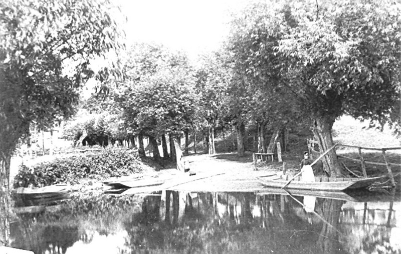 <font size=3><u> - Benson Ferry - </u></font>(BS0349)  The Ferry embarkation point was from the bottom of the garden of Ferry Cottage in Preston Crowmarsh.  The lady in the punt is Doris Brown neé Green. She was Shirley Rust's grandmother and lived in ferry cottage.