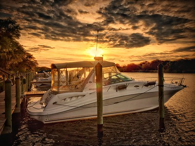 Boat in Marina At Sunset