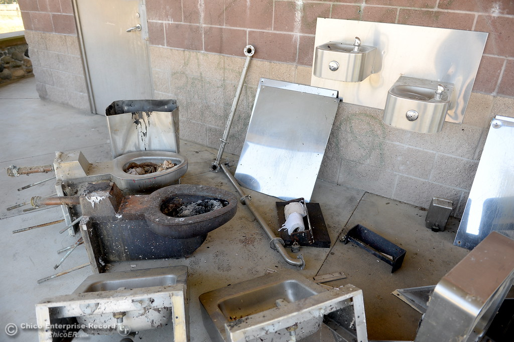 . Items gutted from the restrooms are seen in a pile as Riverbend Park remains closed as construction is underway on repairs to the park in Oroville, Calif. Wednesday May 2. 2018. (Bill Husa -- Enterprise-Record)