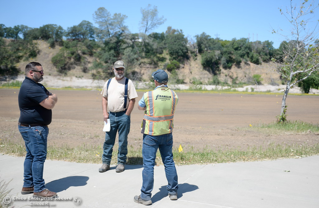 . Park Supervisor Scott Thompson, Lee Ward of Ward\'s concrete and Brandon Duntsch with Franklin Construction left to right, talk about current projects while Riverbend Park remains closed as construction is underway on repairs to the park in Oroville, Calif. Wednesday May 2. 2018. (Bill Husa -- Enterprise-Record)