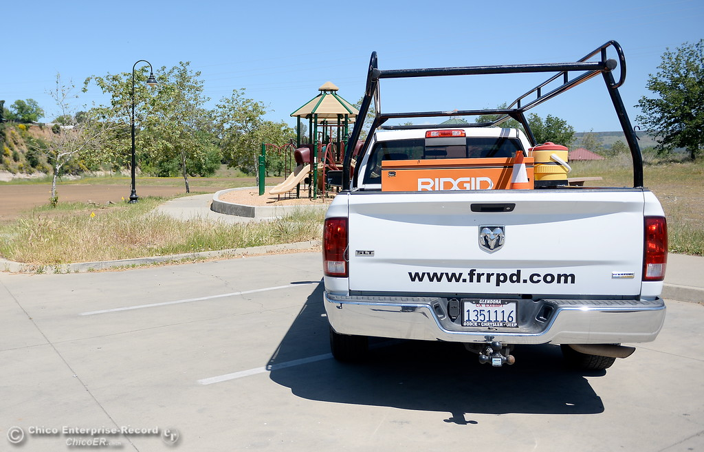 . A Feather River Recreation and Parks District truck is seen while Riverbend Park remains closed as construction is underway on repairs to the park in Oroville, Calif. Wednesday May 2. 2018. (Bill Husa -- Enterprise-Record)