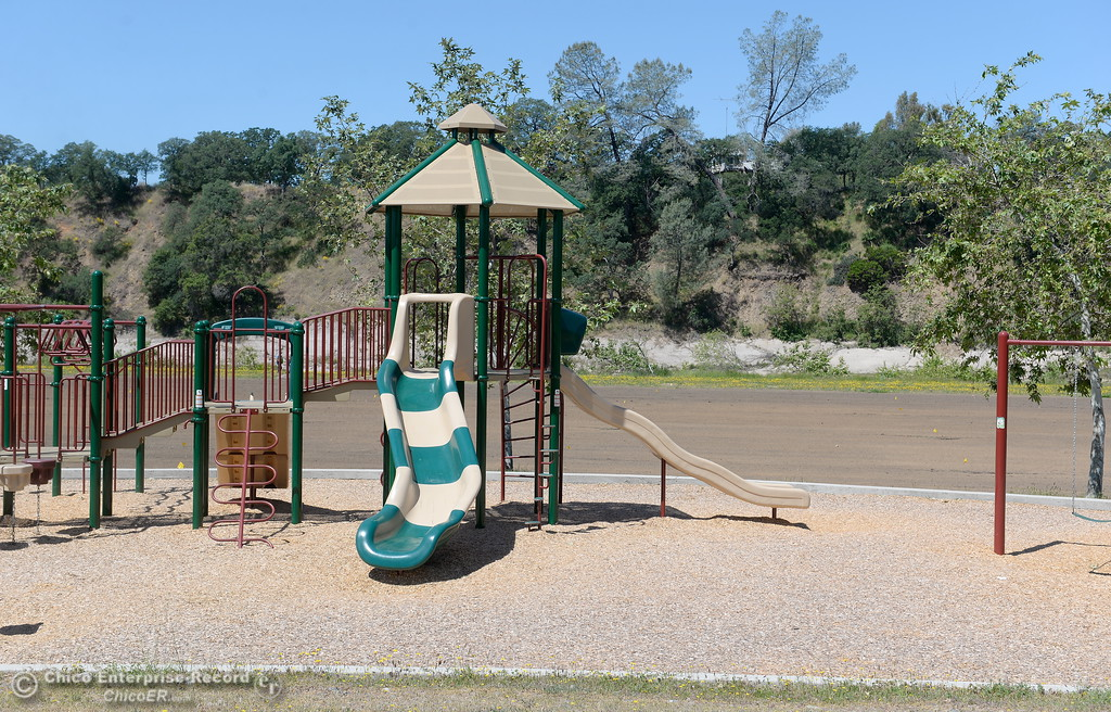 . Although the playground has already been repaired, Riverbend Park remains closed as construction is underway on repairs to the park in Oroville, Calif. Wednesday May 2. 2018. (Bill Husa -- Enterprise-Record)