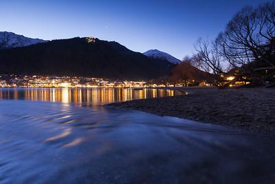 Lights of Queenstown and Lake Wakatipu, winter evening, Queenstown, Otago
