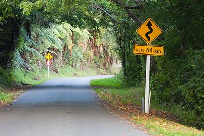 Road and signs, Pipiriki, Whanganui