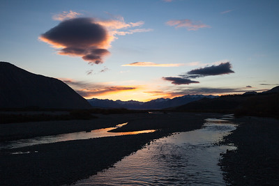 Sunset and clouds over Southern Alps and Rakaia River, Lake Coleridge, Inland Canterbury