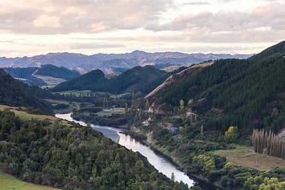 Pungarehu and Whanganui River and River Road, Mount Ruapehu visible top right, Whanganui Manawatu