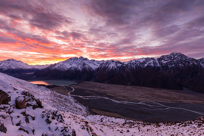 Dawn cloud over Burnett Mountains and Tasman Valley, Aoraki Mount Cook National Park