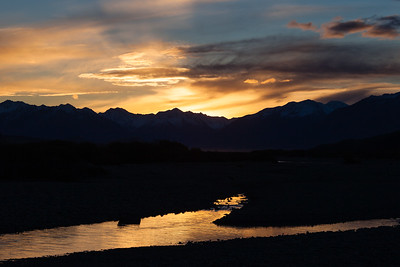 Sunset over Southern Alps and Rakaia River, Lake Coleridge, Inland Canterbury