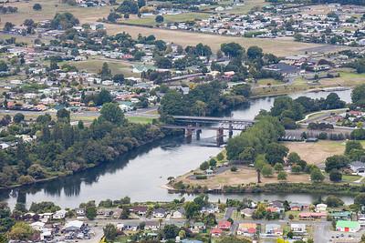 Ngauruwahia and confluence of Waipa River and Waikato River viewed from Hakarimata Scenic Reserve