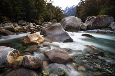 Granite boulders in the Tutoko River. Tutoko Valley. Darran Mountains. Fiordland National Park