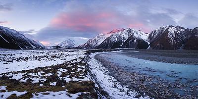 Tasman River and Burnett Mountains, Tasman Valley, Aoraki Mount Cook National Park