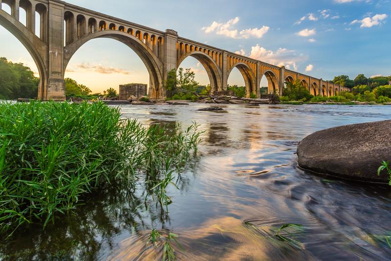 Richmond Railroad Bridge Lit by Sun