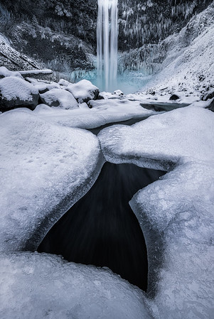 A break in the ice at Brandywine Falls - Whistler, Canada