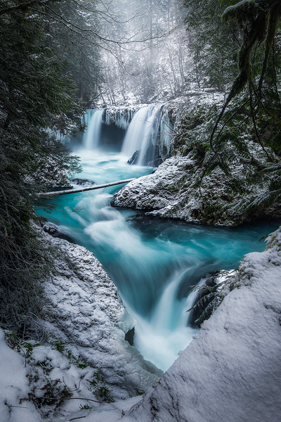 Spirit Falls showing off her color against the white snowy backdrop - Washington