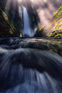 An incredible display of light at a remote Washington waterfall