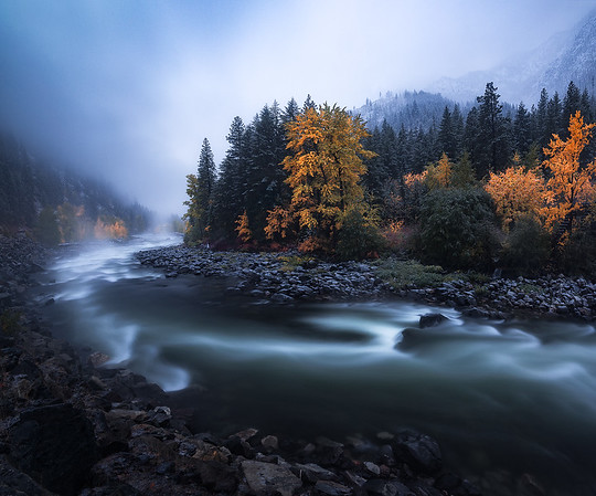 Fall colors at dusk during the start of a snowstorm in Leavenworth, Washington
