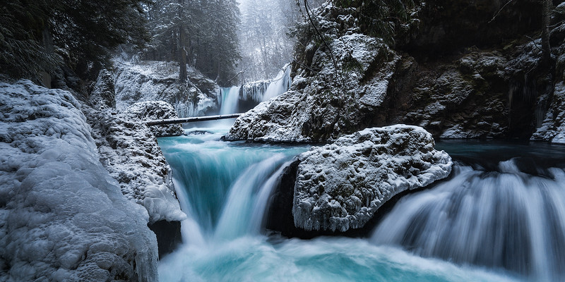 Spirit Falls after a light dusting of snow during an extra cold Winter, Washington