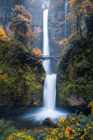 The famous Multnomah Falls during Fall - Oregon