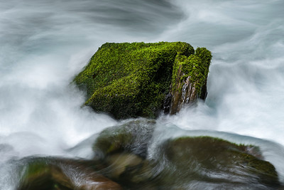 Mossy Rock in Rapids, Lyre River near Joyce, WA