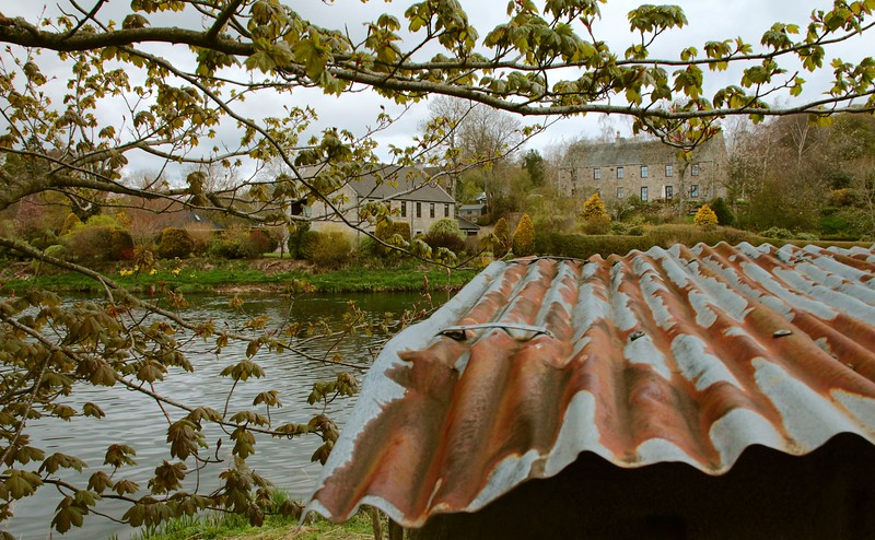 "The rusty roof of the fishermen's bothy at Cothal on the River Don sits in contrast with its setting, yet belongs.<br /> (16"" x 10"")"