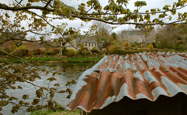 """The rusty roof of the fishermen's bothy at Cothal on the River Don sits in contrast with its setting, yet belongs. (16"""" x 10"""")"""