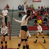 Visiting Riverview came out strong and finished stronger as it swept the first-place Grosse Ile Red Devils 3-0 (25-12, 25-21, 25-23) on Monday night.  (MIPrepZone Photo Gallery by Mimi Dorn)