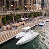 Riverwalk Marina in the summer with boats