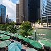 Chicago River riverwalk cafe dining O'Brien's Riverwalk Cafe summer day