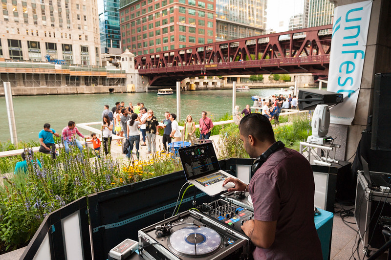 Unifest on the Riverwalk presented by Chicago Sister Cities International jetty summer crowd DJ Sohbash