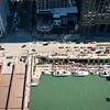 aerial Riverwalk Marina with boats Wacker Drive water taxi summer